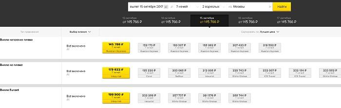 цены на туры