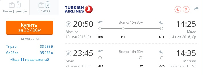 Turkish Airlines na Maldivy